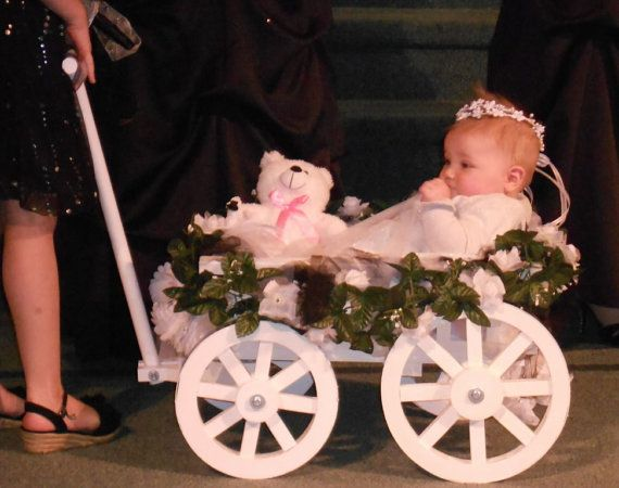 Small Flower Girl Wedding Wagon  Gloss White by Miniwagons on Etsy, $234.00