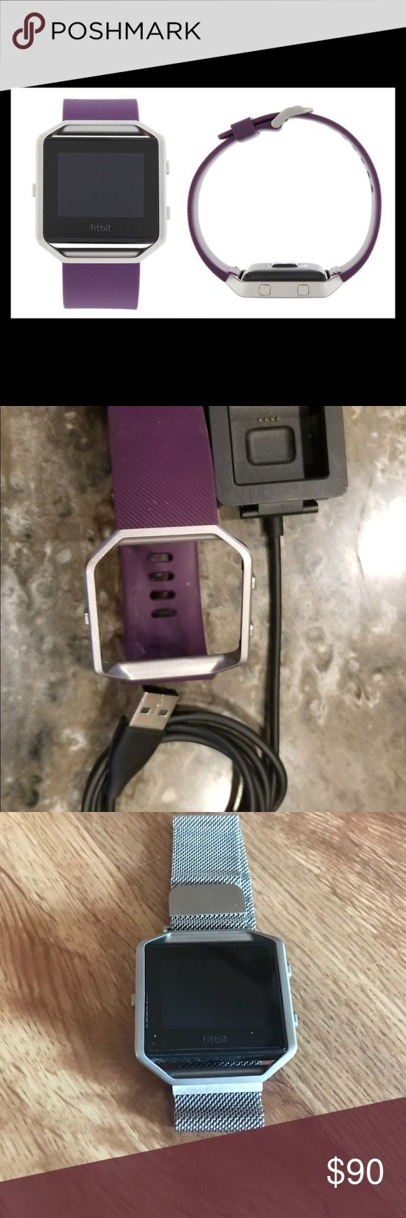 Fitbit Blaze Used but good condition! Comes with Large Plum colored band and magnetic silver band. Also comes with charging cable that has no wear or tear. **Has a Zagg screen protector** Feel free to make an offer. Please no unreasonable offers! Fitbit Jewelry