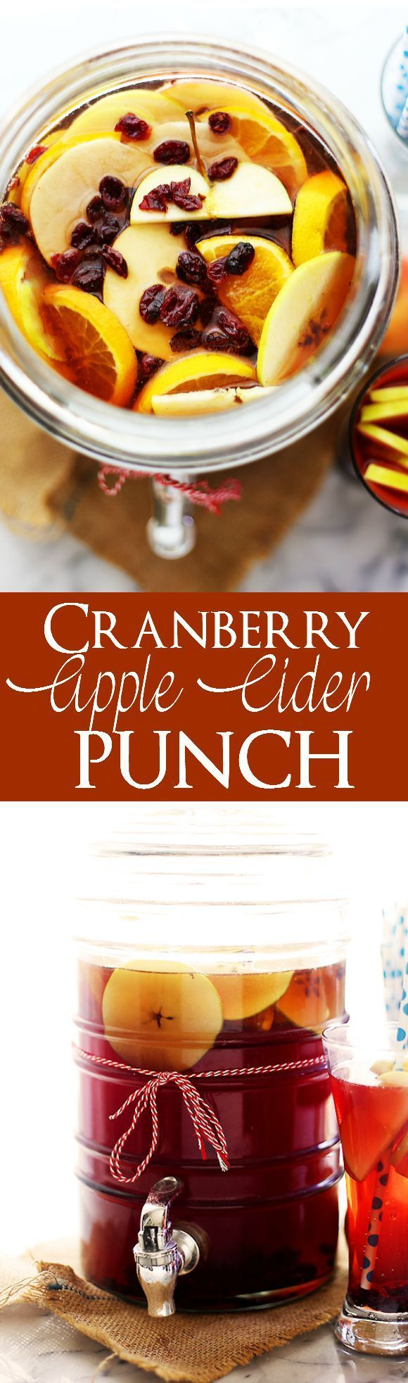 Cranberry Apple Cider Punch -- Easy to make, deliciously sweet apple cider drink that is perfect for all your Winter parties.