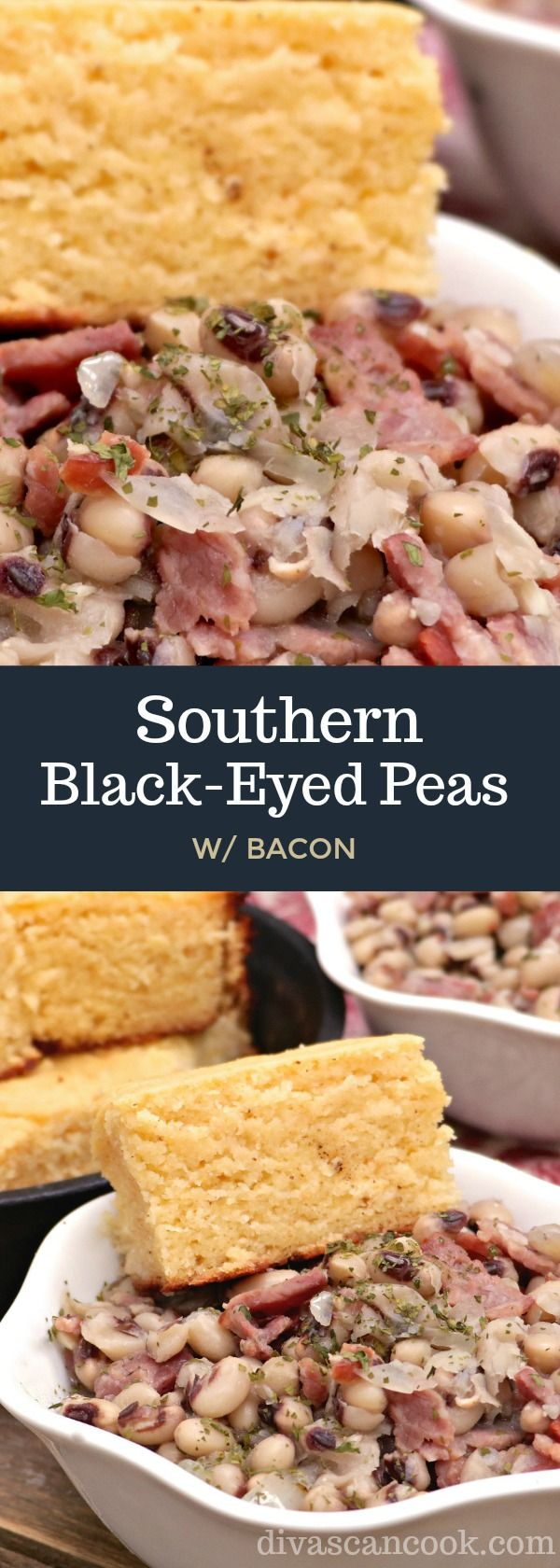 Southern Black Eyed Peas! Simmer in chicken broth, onions, garlic, spices and lots of bacon!
