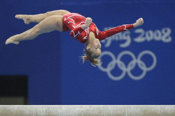 Shawn Johnson- Balance Beam. She took home the gold for this event at the 2008 Olympics in Beijing.