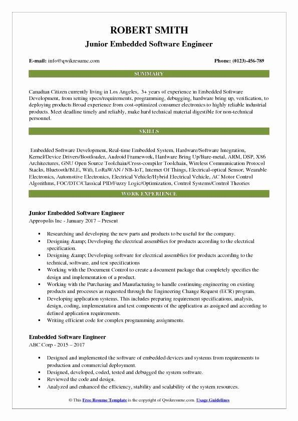 Embedded Software Engineer Resume New Embedded Software Engineer Resume Samples In 2020 Software Engineer What Is Software Resume