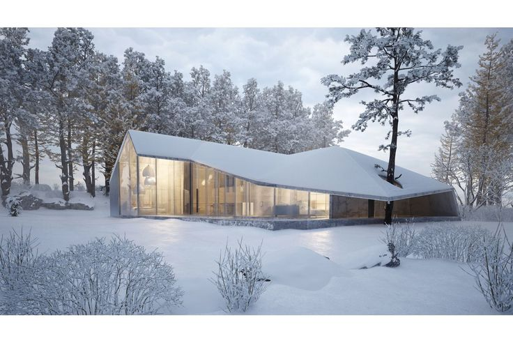 """House of Winter"": Just recently announced (September 2015), this spectacular winter home is by the notable Ukrainian designer Sergey Makhno. No word yet how the designer intends to heat the space with the high celings and glass curtain walls, but the design is beautiful! No information is available yet as to location, although it may be Zima, Russia."
