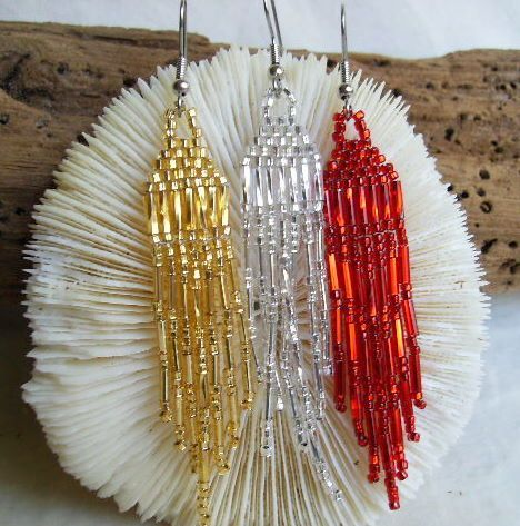 metal lined beads for bracelets | ... Lined Seed Bead Fringe Earrings | DancingWindDesigns - Jewelry on