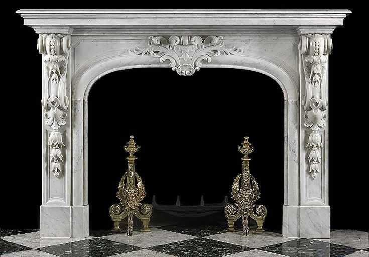 Antique Louis XIV French Baroque marble fireplace