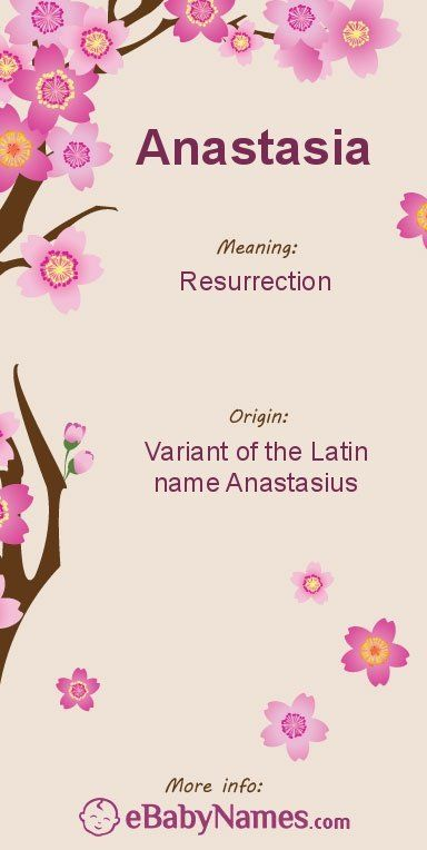 "Meaning of Anastasia: Anastasia is a feminine variant of the Latin name Anastasius, which is a variant of the Greek name Anastasios, meaning ""resurrection"
