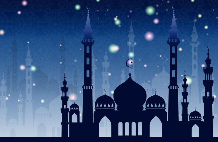 Beautiful mosque silhouette vector free download. This comes with wallpaper, blue eid ul fitr ecard and ai & PNG formats.
