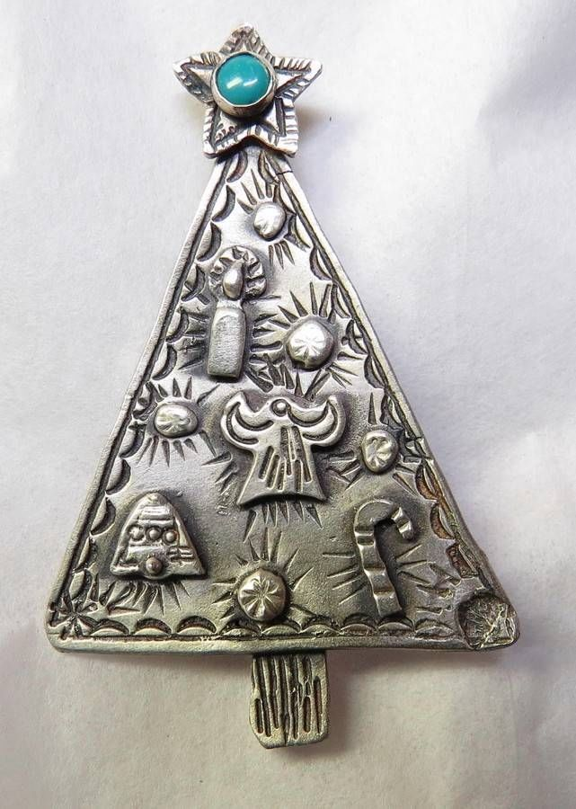 vintage sterling silver navajo christmas tree pin story teller style signed - Sterling Christmas Trees