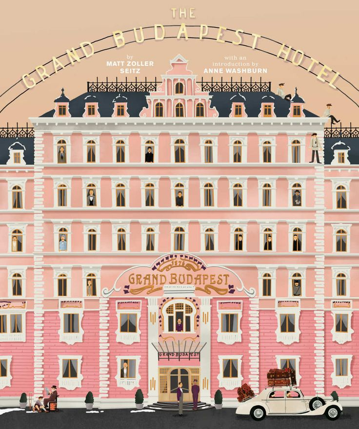 Grand Budapest Hotel - poster on a onboard with the keys hanging over it