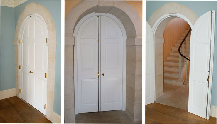 Arched Doorway - 2014. Sub contract commission to production engineer and make this large arched doorway. Built predominantly in tulipwood with custom made keep bolt, brass parliament hinges and automated drop down draft excluders.