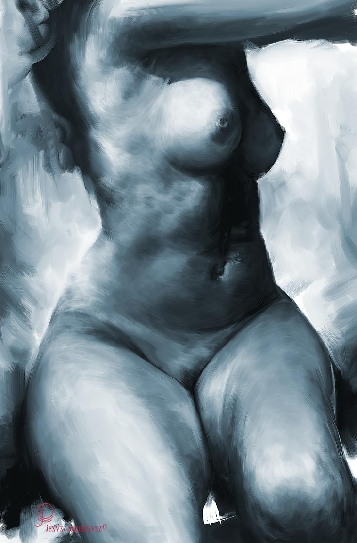 Pecho desnudo de la mujer