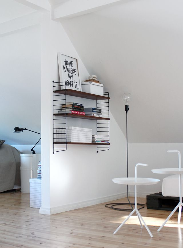 Design house Stockholm cord lamp, HAY DLM tables, Jieldé table lamp, Compobinili by Kartell, String shelf.