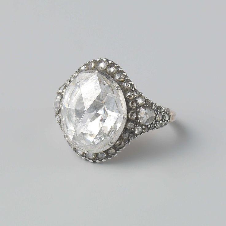 Entouragering van diamanten gezet in zilver, anoniem, niet van toepassing, c. 1725 - c. 1750