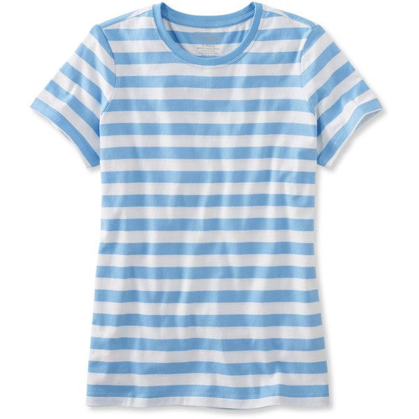 L.L.Bean Carefree Unshrinkable Tee, Short-Sleeve Stripe (650 UAH) ❤ liked on Polyvore featuring tops, t-shirts, blue short sleeve top, blue t shirt, striped t shirt, blue striped t shirt and short sleeve tee