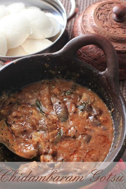 The ancient south Indian recipe- Eggplant Gotsu. From the Hindu Nataraja Temple, Chidambaram
