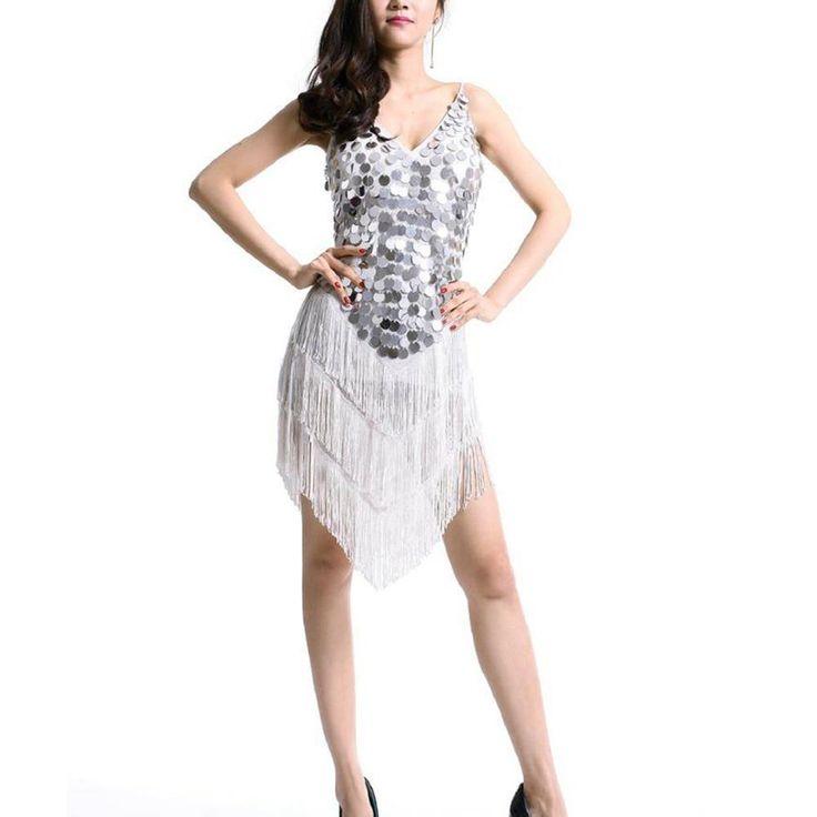 SIZE SM L XL Sparkling beads LATIN RHYTHM SALSA BALLROOM COMPETITION DANCE DRESS
