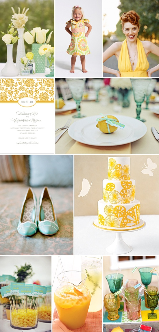 Yellow and aqua go so well together! Reminds me of summer, even though it's so far away right now!Colors Pallets, Colors Combos, Fresh Squeeze, Girls Generation, Colors Matchups, Cake Pop, Bridal Shower, Parties Ideas, Girls Parties