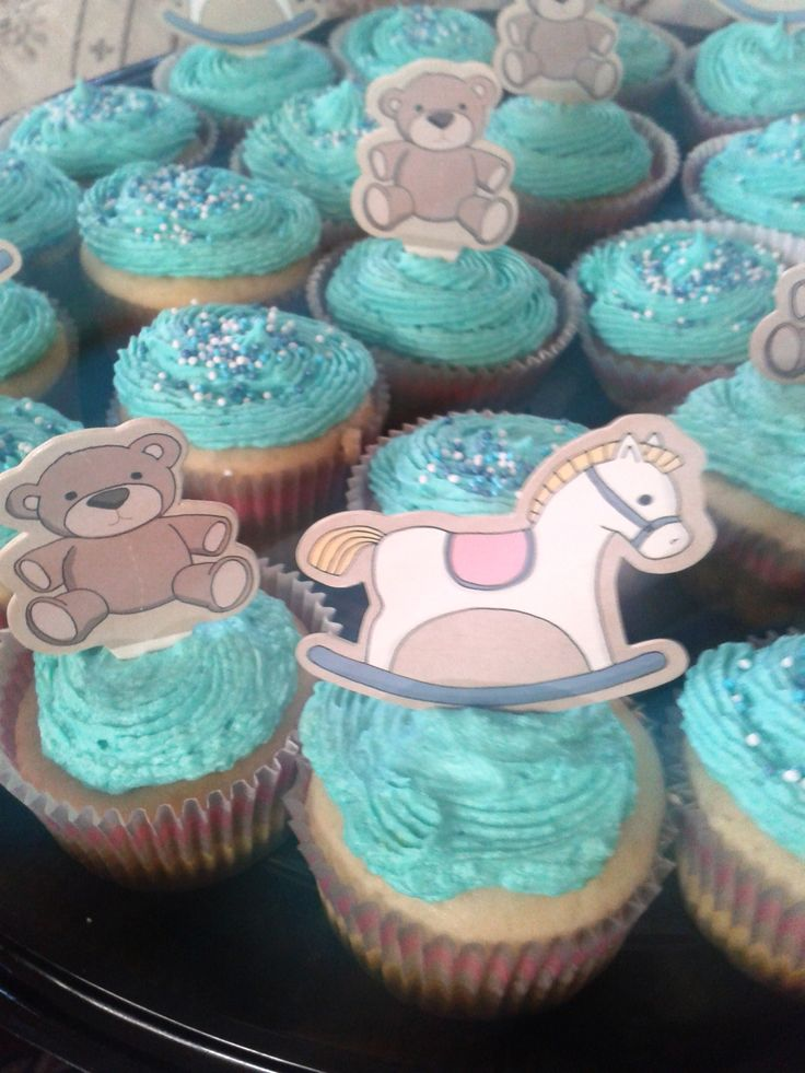 Blue Baby Shower Cup Cakes
