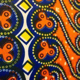 Oranje et gele katoen stof met geometrische patroon