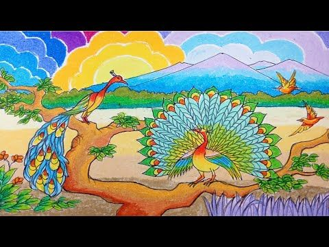 Cara Menggambar Burung Merak Dan Pemandangan Dengan Crayon Oil Pastel Cara Menggambar Gambar Burung