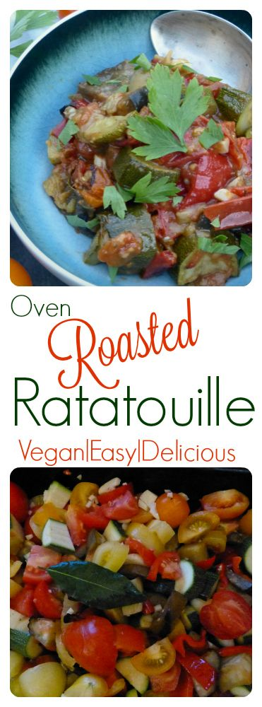 Deliciously easy, naturally vegan and bursting with late summer flavours.  Perfect for using up a glut of courgettes (zucchini!), tomatoes and peppers. #vegan #recipe #ratatouille #courgette #zucchini
