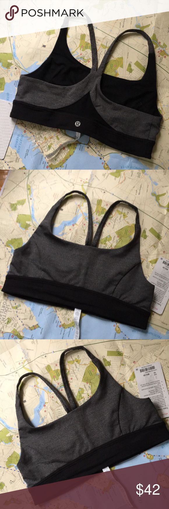 Lululemon NWT Train Times Bra Size 10+red lulu bag On sale at lulu online right now if you'd rather get it there. I will include a free red lulu bag with this purchase if you buy from me. Straps stay in place, see through mesh in back lets you breathe. Luxtreme and Lycra keep you cool and provide stretch. Pockets for optional cups (not included, but you can get for free at any lulu store). Intended for medium support for an A-B cup.  Very versatile grayish heathers color. Color: HBLK/BLK…