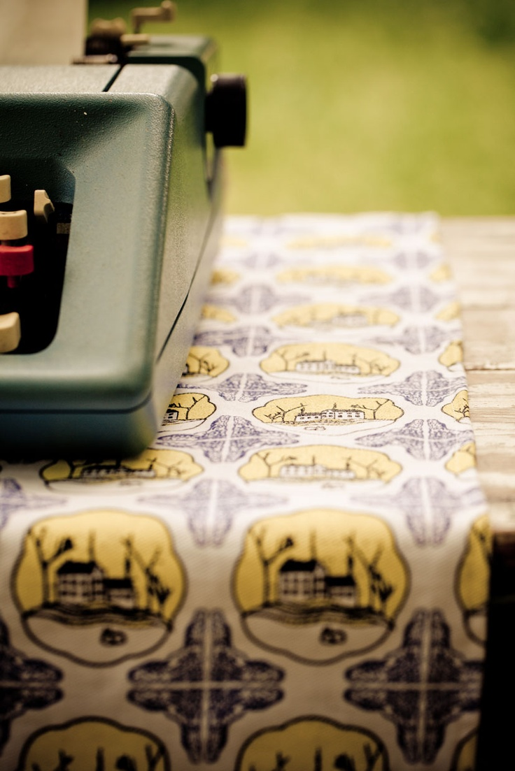 Unwrapped product shoot -  Rickety house repeat print on bull denim - table throw