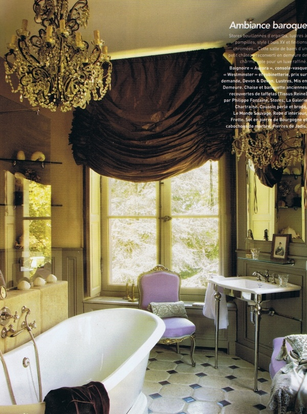 I took a bath in that tub this summer !!!   [  The photo is actually reversed for the magazine.]: Gorgeous Bathroom, Modern Bathroom Design, French Interiors, Baroqueinfluenc Bathroom, Window Treatments, Baroque Bathroom, Bathroom Decor, French Bath, Window Covers