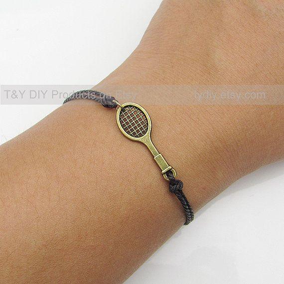 Charm Bracelet Antique Brass Tennis Racket Charm on Thin by TYdiy, $3.53