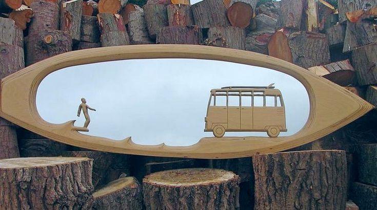 Prancha de surfe como espelho