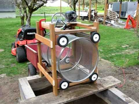 Homemade rotary soil / compost screen - want to build something like this, but bike/kid powered!