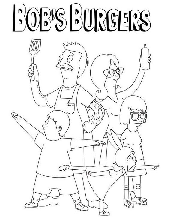 Bobs Burgers Coloring Sheet Online Bobs Burgers Cute Coloring