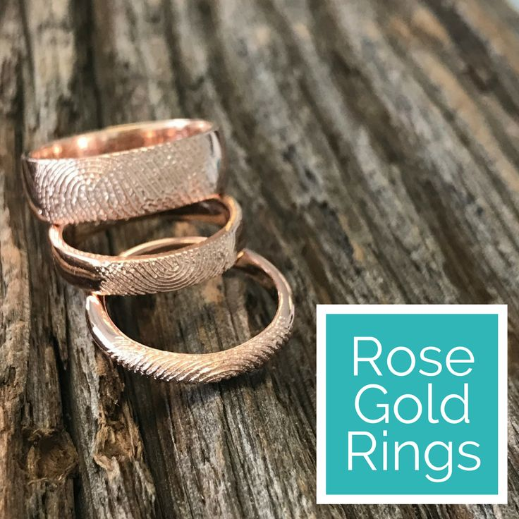 Fingerprint rings in rose gold. High definition fingerprints look like you just removed your finger from the metal - by Dimples.