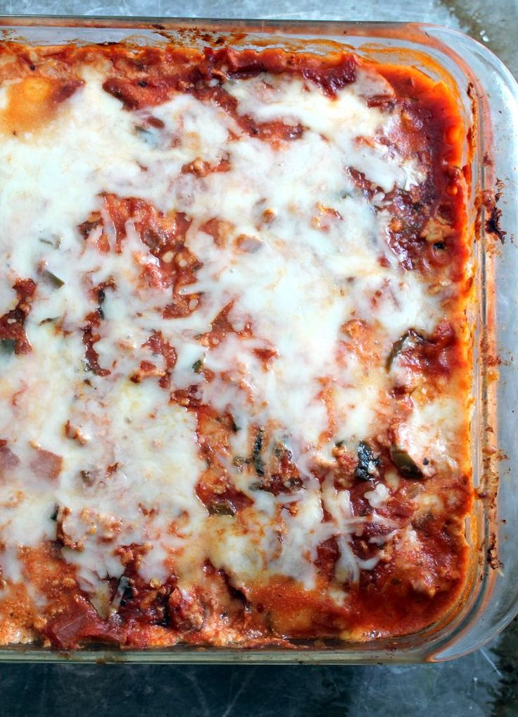 A healthy, low carb zucchini lasagna with a flavorful turkey meat sauce! Packed with protein and filling!