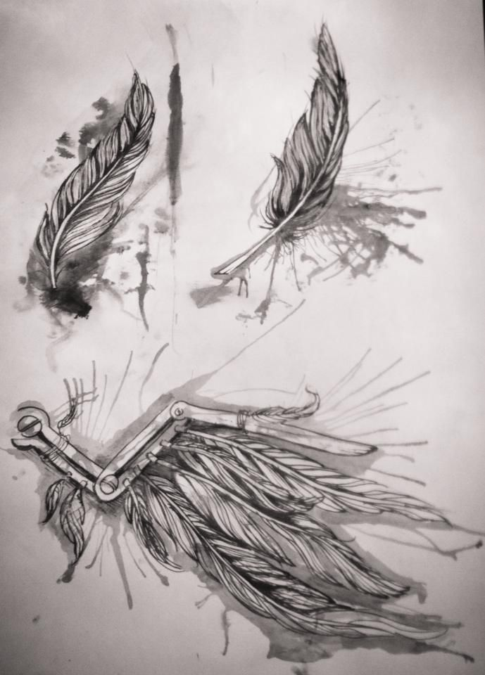flash stain feather tattoo design , steampunk wing tattoo design by me