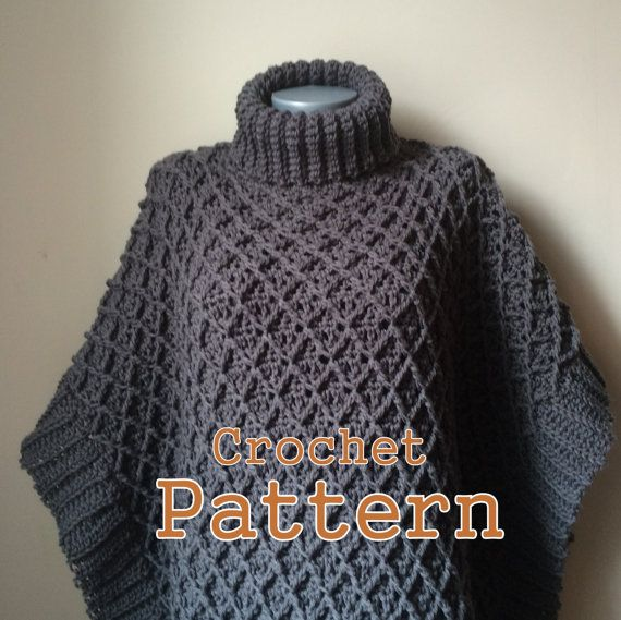 PDF Crochet Pattern Harlequin Poncho Cape von RightBrainCrochet1