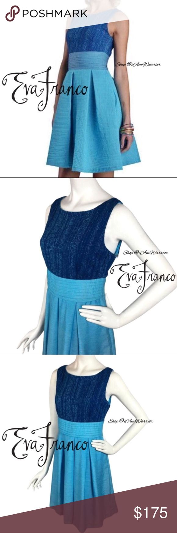 Eva Franco NWT sleeveless Viola dress Gorgeous Eva Franco sleeveless Viola dress in Capri breeze, marine blue hues. Upper portion is similar to a light sweater knit with flattering wide banded waist to accentuate the waist with a layers pleated shirt for a flattering feminine silhouette. Above knee length. Measurements upon request. Eva Franco is also a brand commonly sold a Anthropologie. Brand new with tags, retailed at $228. Please read my bio regarding closet policies prior to any…
