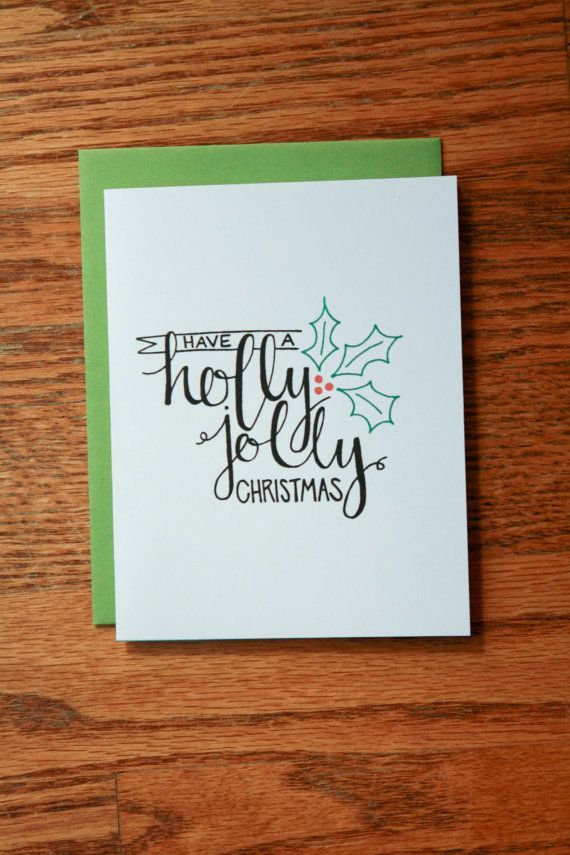 Holly Jolly Christmas Hand Lettering card.