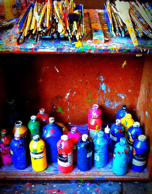 BHHS art room #brushes #paints