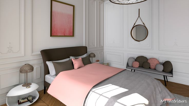 Chambre au design contemporain dans un appartement de style haussmannien. Couleurs corail et nuances de beiges, marrons taupe.