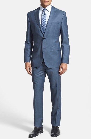 BOSS HUGO BOSS 'Keys/Shaft' Trim Fit Wool & Silk Suit