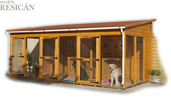 Casitas de madera para mascotas modelo RESICAN... para las grandes familias // Doghouse....RESICAN,,, for the big families!!