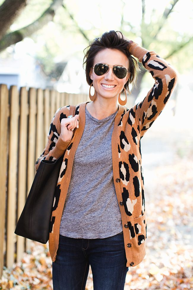 short hair, aviators, leopard sweater, leather earrings