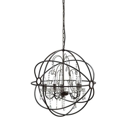 Black Six-Light Metal Chandelier with Glass Crystals