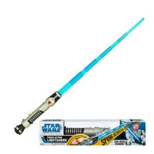Star Wars Force Action Obi-Wan Kenobi Lightsaber by Hasbro Toys. $149.50. With the push of a button, spring into action, light up, and play real lightsaber sound effects. Use the Force with these amazing Force Action Lightsabers. They require 3x 'AA' batteries (not included) for the lights and sounds. Keep yours close at hand because this weapon is your life. This weapon is your life. Spring-loaded, pop-out blade. The favored weapons of Force-users everywhere have...