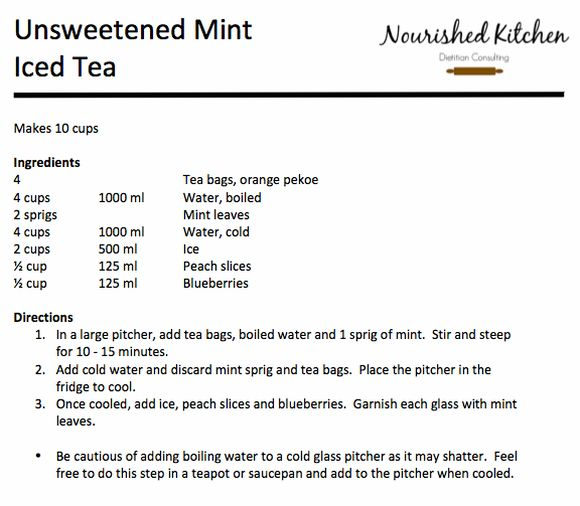 Unsweetened Mint Iced Tea | Nourished Kitchen Dietitian Consulting