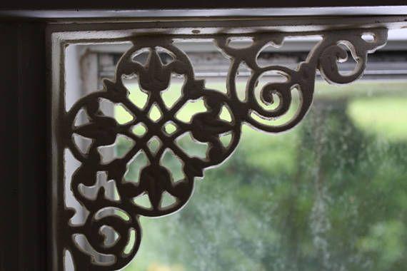 "SET 6 BROWN ANTIQUE-STYLE 9.5/"" SHELF BRACKETS CAST IRON rustic garden LEAF SWIRL"