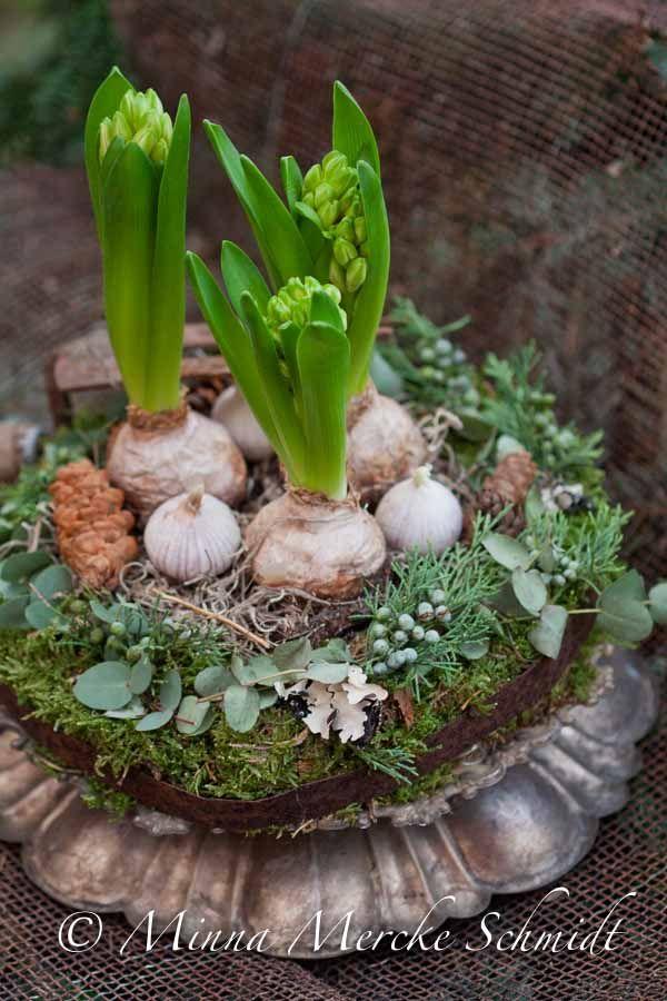 hyacinths, garlic, moss… by blomsterverkstad | minna mercke schmidt