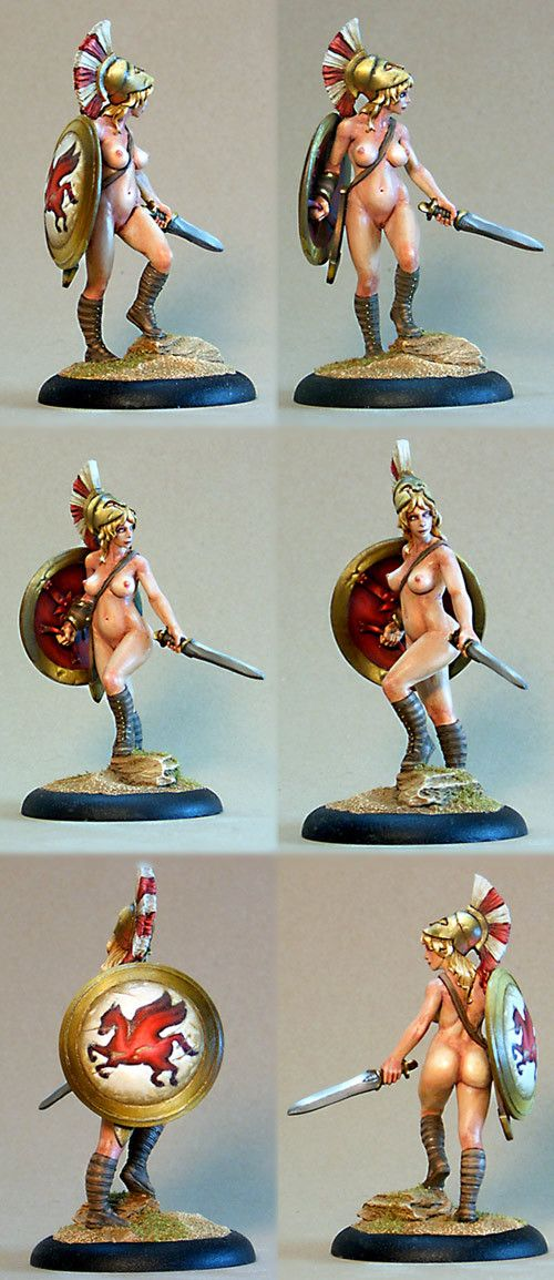 """darkstarminis: """" Artemis from Hasslefree. Resin, 40mm. Painted in oils and sold in May of '08. My first experiment with oil painting on minis. The """"large"""" scale of this piece was the excuse I was..."""