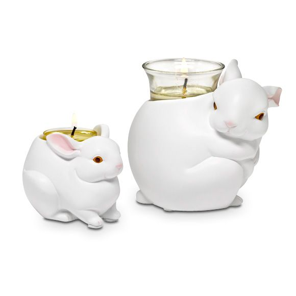 """Precious pairing of mama and her little one. Painted, matte-finished resin. Mama Votive Holder: 3¾""""h, 4½""""w. Baby Tealight Holder: 2½""""h, 3½"""""""
